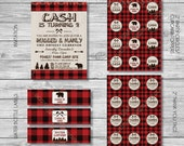 DIY -  Printable: Lumberjack Birthday Party Set -  16 items (invitation, party circles, water bottle labels, banner and more)