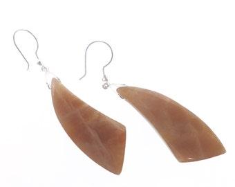 Natural Sun Stone Gemstone Earrings, Statement Earrings, Gemstone Jewelry, Statement Jewelry, Stone Earrings, Handmade Dangle Drop Earrings