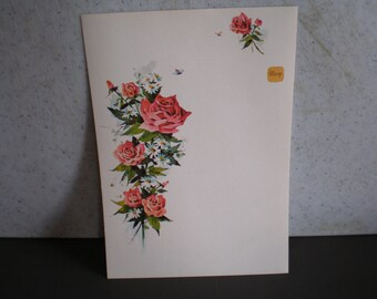 Vintage Unused Set Of Stationary -Just A Note -Red Roses