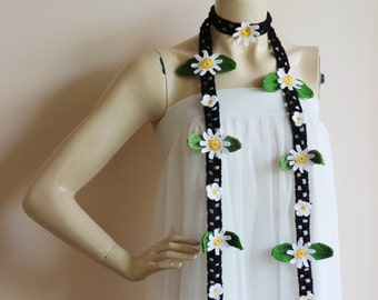 Daisy Scarf-Daisy Crochet Scarf-Black Lariat Necklace -Black and White Scarf-