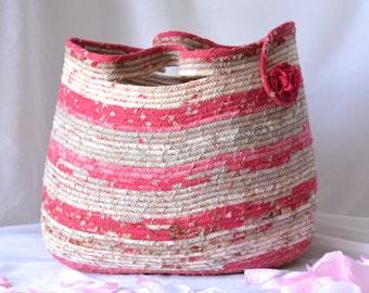 Pink Floral Basket, Handmade Shabby Chic Towel Holder, Hand Coiled Rose Pink Fiber Basket, Gift Basket, Tote Bag, Storage Organizer