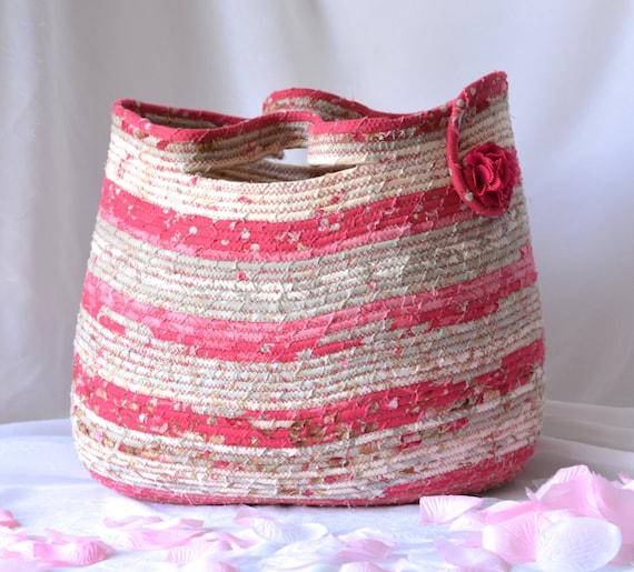 Modern Floral Basket, Handmade Shabby Chic Towel Holder, Hand Coiled Rose Pink Fiber Basket, Gift Basket, Tote Bag, Picnic Basket