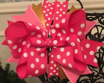 Pink and Gold Boutique Bow - Pink Polka Dot - Boutique Bow