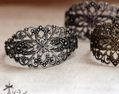 1 Pcs Adjustable Antique Bronze  /Antiqued Silver Filigree Cuff  Bracelet Setting  NICKEL FREE(CBS-1)