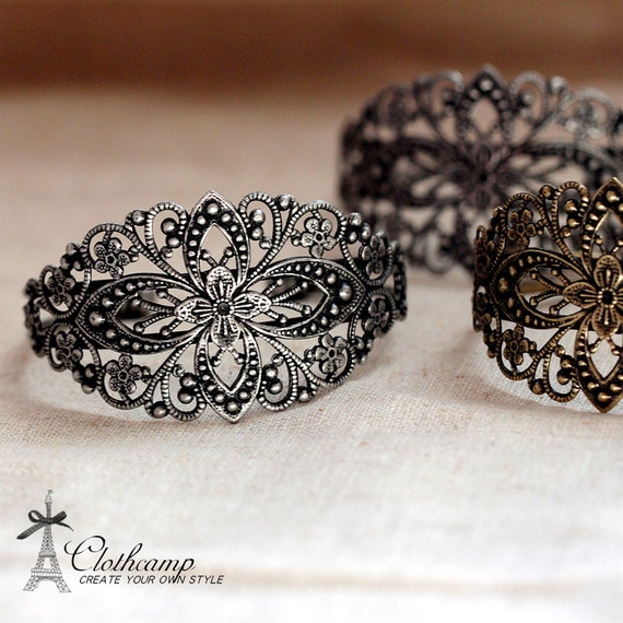 1 Pcs Adjustable Antique Bronze  /Antiqued Silver Filigree Cuff  Bracelet Setting  NICKEL FREE(CBS-1)