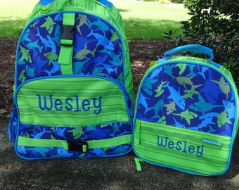 Personalized Boys  Backpack SET - SHARKS Backpack and Lunch Box Stephen Joseph Backpack Set
