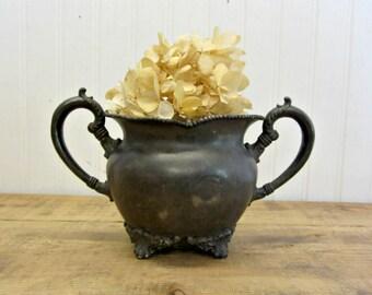 Vintage E.G. Webster & Son Quadruple Plate Metal Sugar Bowl Trophy Shape