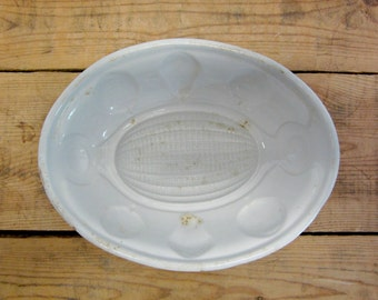 Antique Ironstone Stoneware Mold Mould Gelatin Jelly Pudding Fruit Motif Pattern
