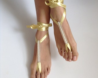 barefoot sandals, yellow ribbon lame, wedding accessories, fashion, bridal barefoot sandals,  Bridal Jewelry, shoes Women,