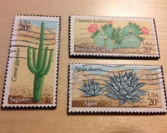 Three (3) Recycled Postage Magnets: Cactus, plant, agave, saguaro, beaver tail, desert plant, desert cactus