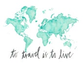 11x14 - To Travel World Map Print