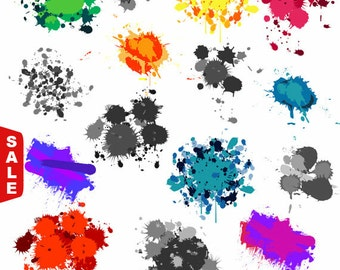 Sale! Paint Splatters Clip Art Clipart - Commercial and Personal