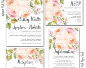 Printable Wedding Invitation Suite v.5 - 4pc set - Floral - Romantique - Bohemian - Rustic - Country Wedding