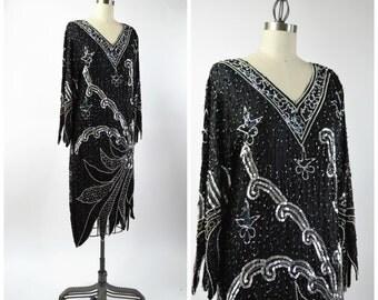 Vintage 20s Style Beaded Dress Black and Silver Sequin Flapper Dress Size Medium Uneven Hems Black Silk Dress