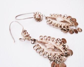 Small Turkish Earrings, Ethnic Jewelry, Silver Filigree