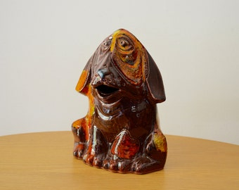 Ceramic Sad Dog Coin Bank by Pacific Stoneware 1970