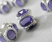 Purple Oval Crystal with Brite Silver metal large hole beads, 10mm x 8mm, hole diameter 5mm, package of 6