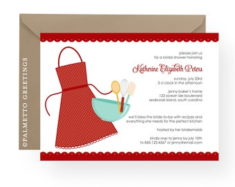 PRINTABLE SET - Bridal Shower Invitation and Matching Recipe Cards (Kiss the Cook)