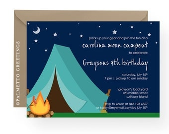 Birthday or Campout Invitation Carolina Moon Camping Party