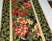 Christmas Table Runner, Poinsettias Lillies, Reversable from Kaufman Holiday Flourish