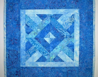 Batik Table Topper, Wall Hanging, Quilted, Blues, Center Piece, Candle Mat