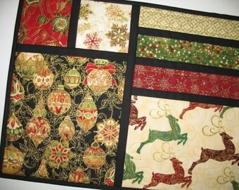 Christmas Table Runner, reversible,  reindeer, Christmas ornaments, quilted  from Kaufman  Holiday Flourish Line