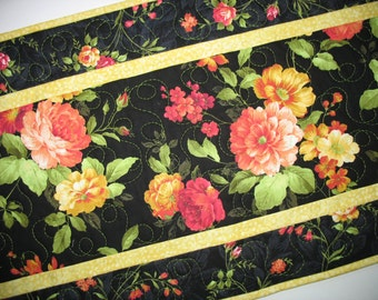 Floral Table Runner, Spring, Summer, quilted, fabric from Andover
