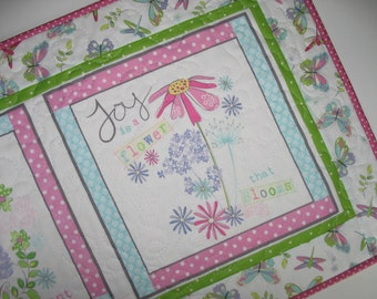 Floral Table Runner, Wall Hanging, Spring, Floral, Fanciful, pink, white, blue, fabric from Wilmington Prints
