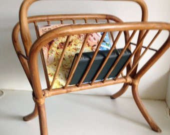 Vintage Handmade Wood Magazine Rack
