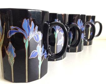 Vintage Otagiri Blue Iris Black Flowers