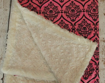 Ready to Ship- Minky Blanket with White rosette and Pink and Black damask