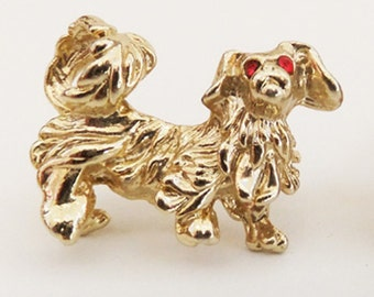 Vintage jewelry brooch in set 2 scatter pins dog with red eyes