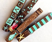 CUSTOM ORDER for Chris clothespin set hand painted magnets aqua and brown fish starfish sand pail
