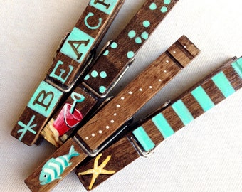 AT THE BEACH clothespin set hand painted magnets aqua and brown fish starfish sand pail