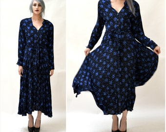 Vintage Dress by Nicole Miller With Abstract Print Black and Blue Small Medium // 90s Vintage Black Dress Long Sleeve Shirt Dress