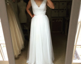 Kate-custom Wedding Dress-cap-sleeves illusion boat neck v back A-line full length-Made to order with chiffon or tulle