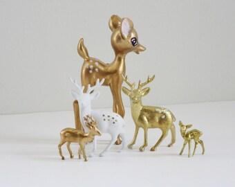 Vintage Hong Kong Deer Reindeer Lot, Repurposed Retro Reindeer Gold White Fawn Bambi Deer,  Kitsch Holiday Deer Reindeer Gold Decor