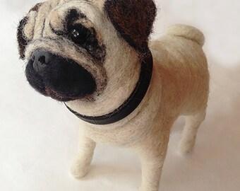 Needle Felted Pug