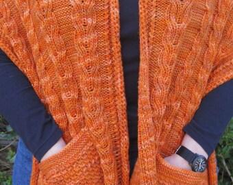 Knit Shawl Pattern:  Warm Castlebar Pocket Shawl