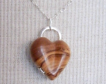 Handcarved Wood Locket by JeanineDesigns, Olive wood Sterling Silver, Artisan Jewelry, Fine Jewelry