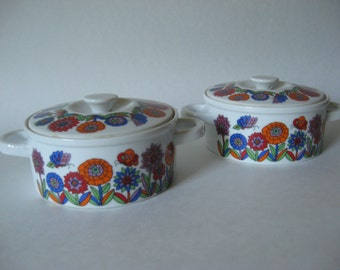 "Two small casserole serving bowls mid century vintage lidded dish like ""Acapulco"" made in Japan butterly mod floral"