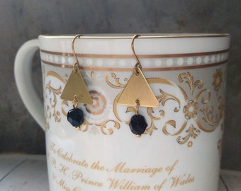 Triangle gold and black geomentric earrings. Triangle dangle earrings. Triangle and bead earrings.