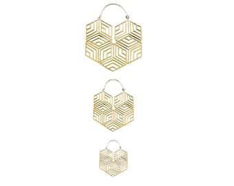 Hexagonal Hoop Earring - Big Geometric Hoops 3 Sizes