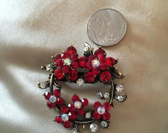 Crystal red persuasion pin rhinestone brooch