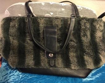 Faux fur large purse