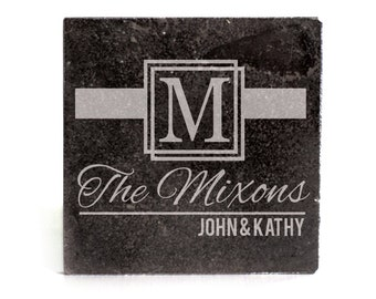 Personalized Coasters Set of 4 - black granite laser - 9972 Ribbon Monogram Personalized with Family names