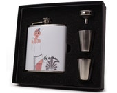 Personalized Flask for Women // Flapper Girl in White Dress