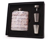 Custom French Writing Flask Gift Set with Shot Cups, Funnel and Gift Box