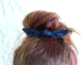 Knotted Bun Clip Hair Bows Navy Blue Solid Color Hair Bow Girl Teen Women Hair Accessory French Barrette Alligator Clip Hair Ties