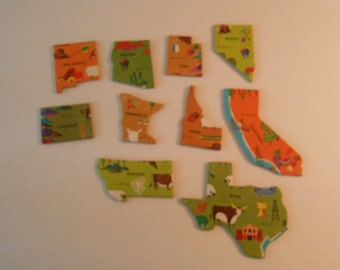 states puzzle pieces for crafting -cardboard